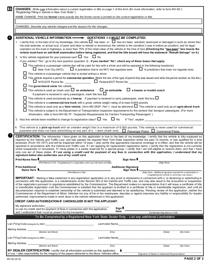 New York State Department Of Motor Vehicles Registration Forms ...