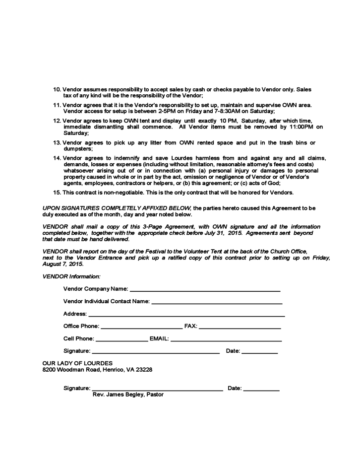 Doc585610 Sample Vendor Agreement 10 Vendor Agreement – Food Vendor Contract