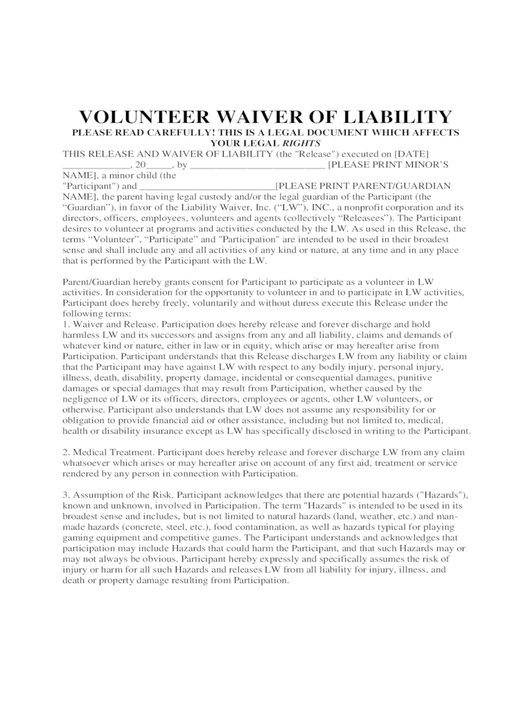 Release Waiver Form Template general liability release form – General Liability Release Form