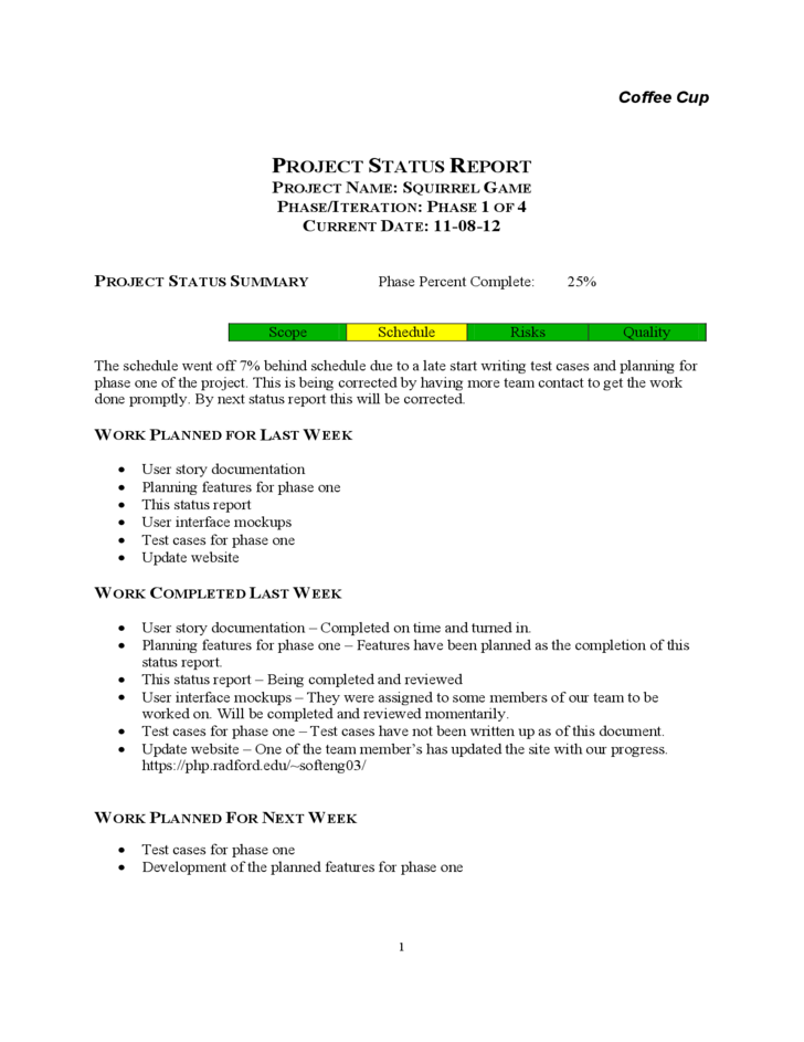 Doc Weekly Employee Status Report Template 7 Weekly status – Weekly Report Writing