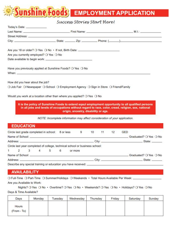 Sunshine Foods Job Application Form