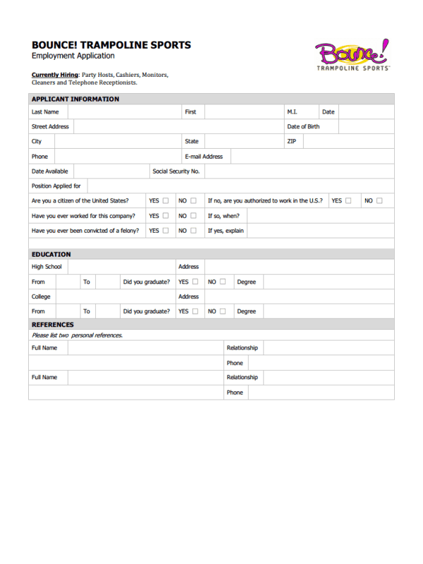 Bounce Trampoline Sports Job Application Form