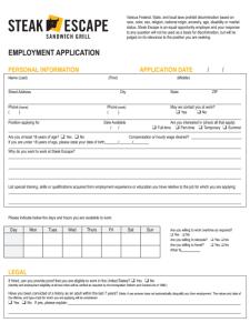 Steak Escape Job Application Form