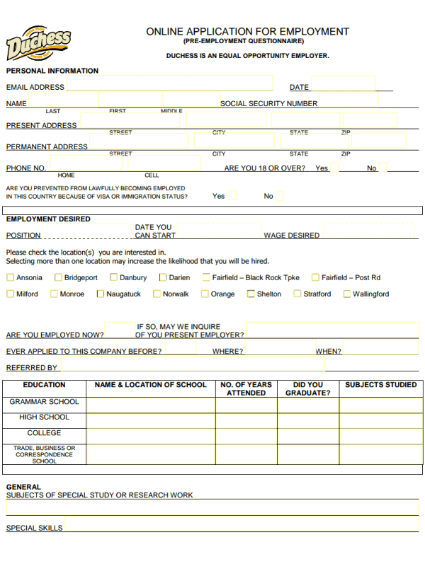 Duchess Restaurant Job Application Form