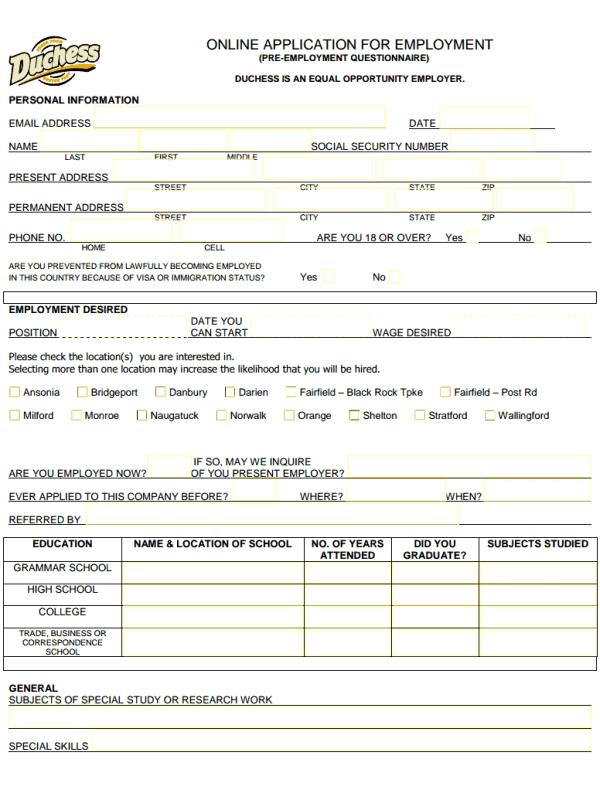 Duchess Restaurant Job Application Form