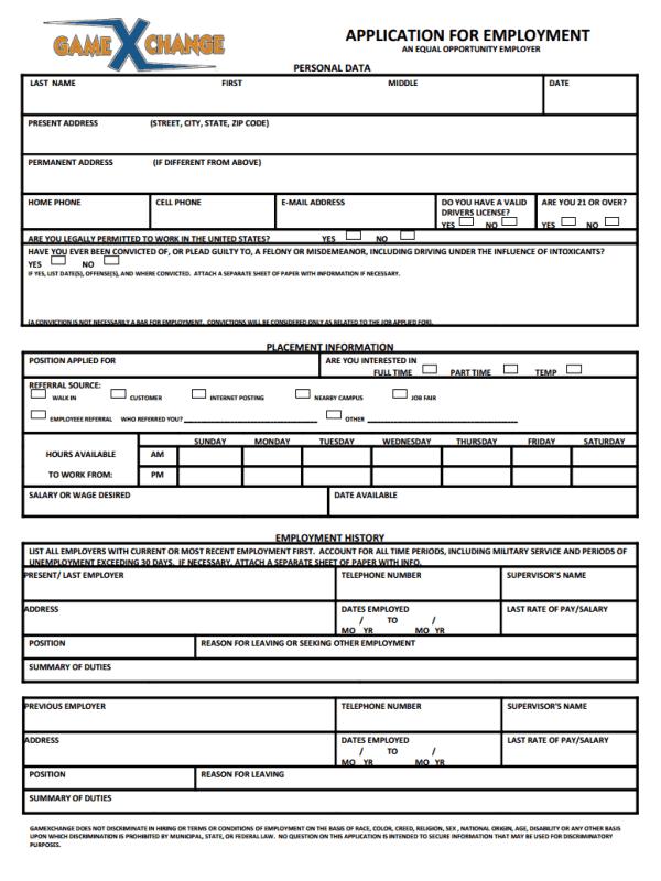 Game Xchange Job Application Form