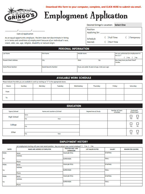 Gringo's Mexican Kitchen Job Application Form