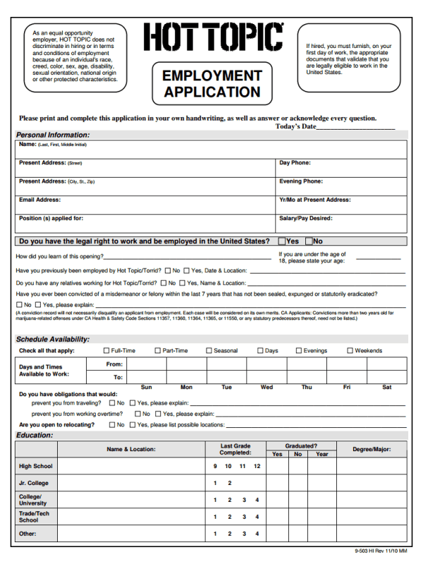 Hot Topic Job Application Form