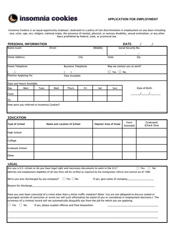 Insomnia Cookies Job Application Form