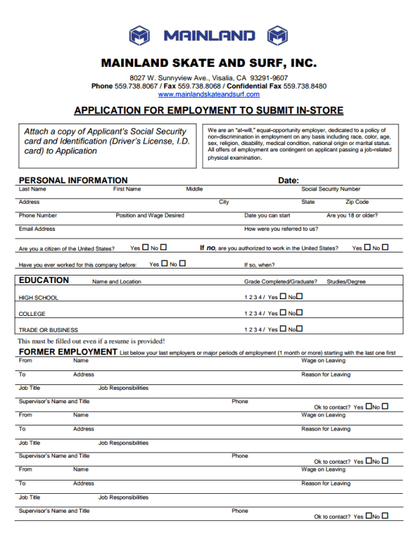 Mainland Skate And Surf Job Application