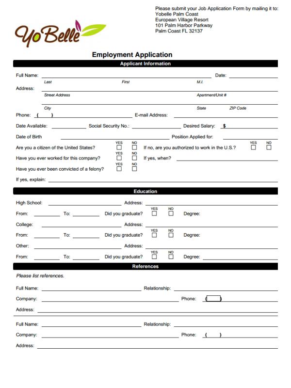 Yobelle Job Application Form