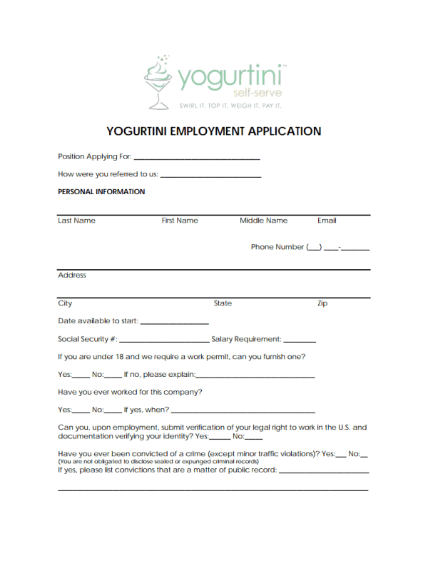 Yogurtini Job Application Form