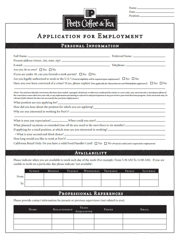 Peet's Coffee Job Application Form