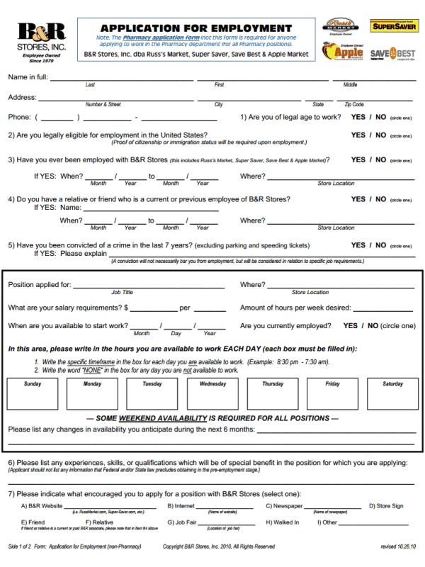 Super Saver Job Application Form