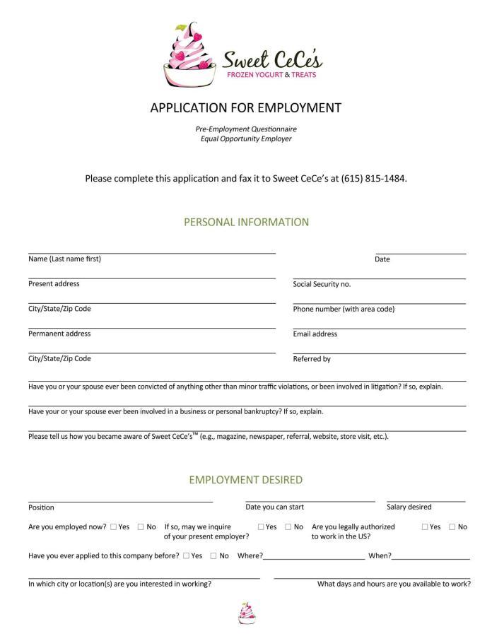 Sweet Cece's Job Application Form
