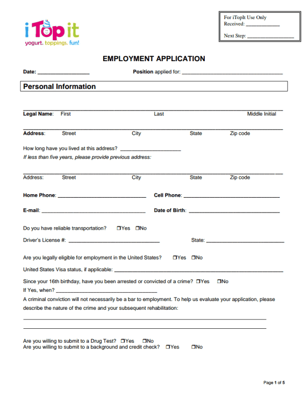 iTopit Job Application Form