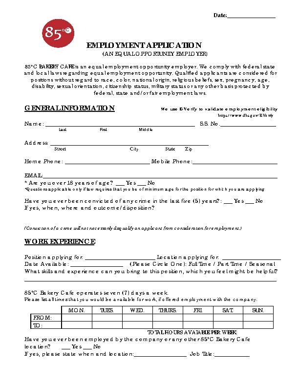 85c Café Bakery Job Application Form