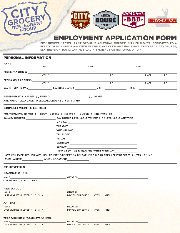 City Grocery Restaurant Group Job Application Form