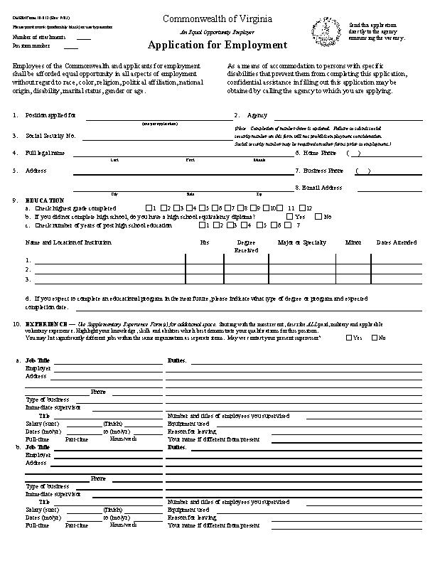 Commonwealth Of Virginia Job Application Form
