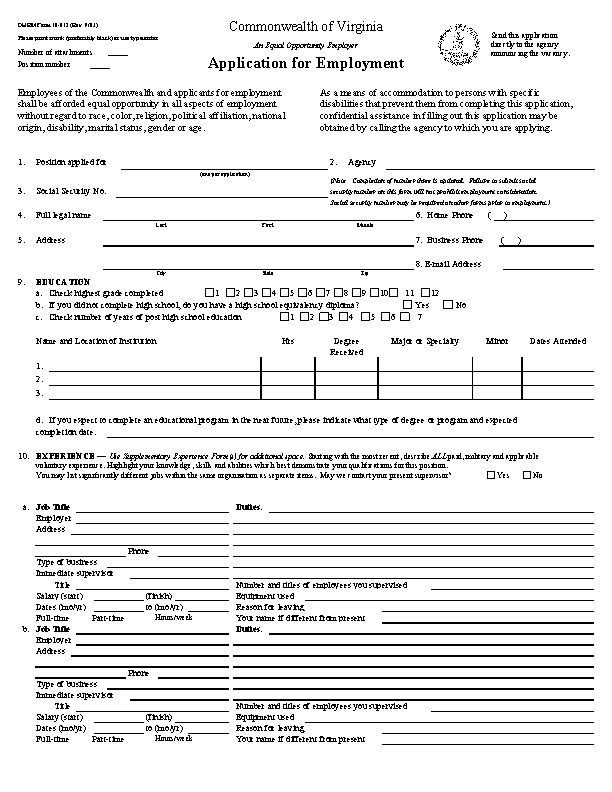 Commonwealth Of Virginia Job Application Form