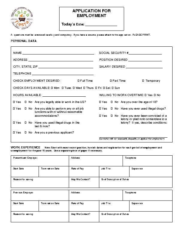 Fiesta Grill Job Application Form