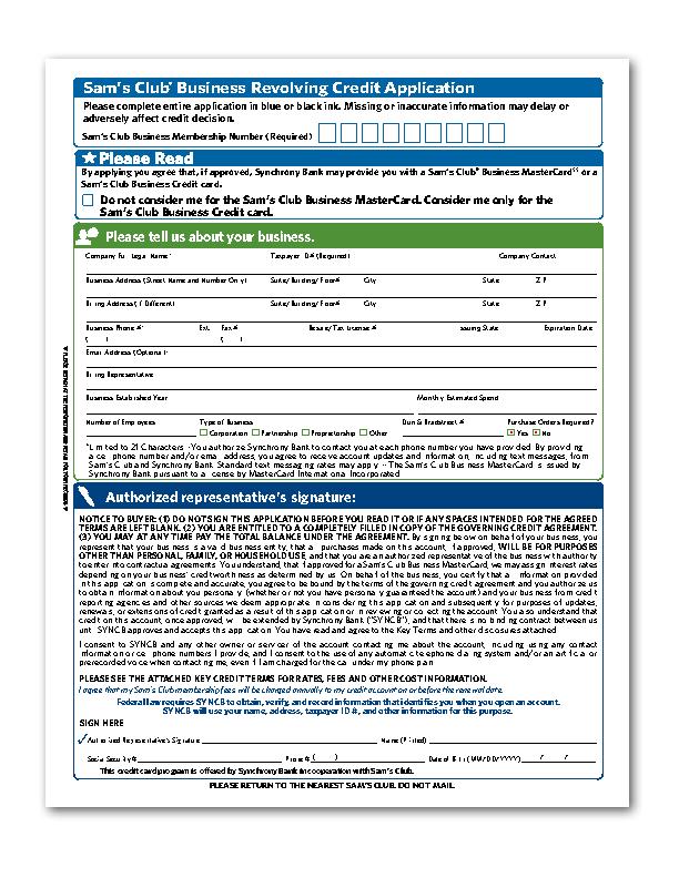 Samsclub Credit Login >> Applying Sam S Club Credit Card Application Form For A