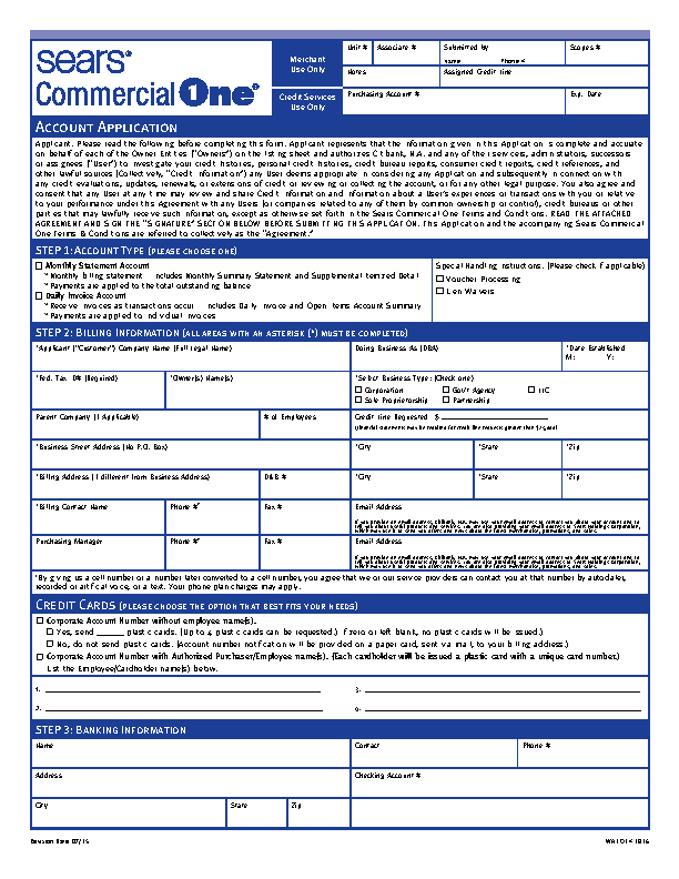 Sears Credit Card Application Form