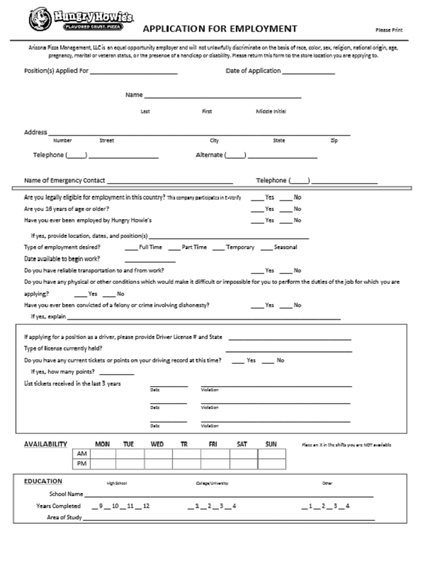Hungry Howies job application form