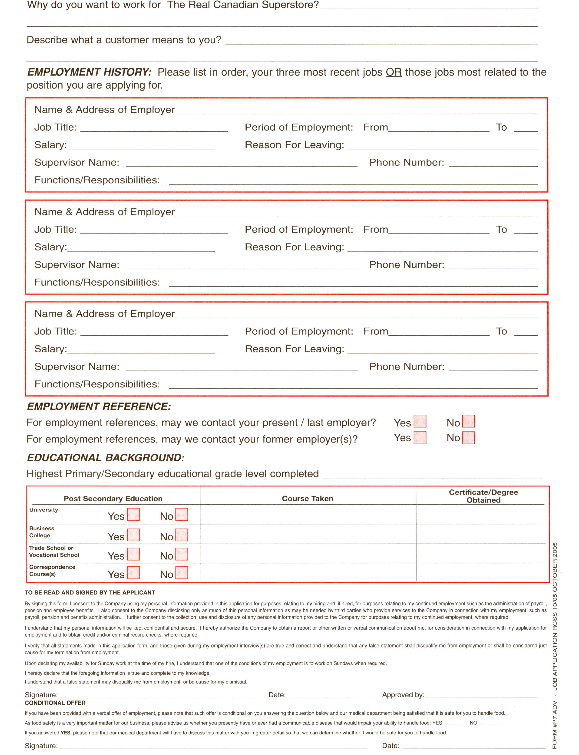 Real Canadian Superstore Job Application Form - Free Job Application