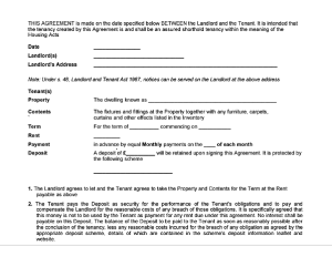 Tenancy Agreement Form Free Download