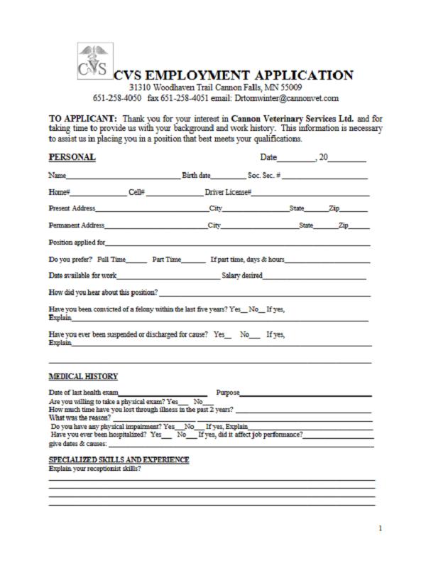 CVS Job Application Form
