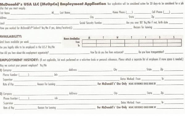 picture about Mcdonalds Printable Application identified as Mcdonalds Endeavor Program Kind PDF - No cost Endeavor Computer software Sort