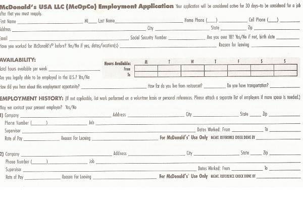 image regarding Mcdonalds Printable Application identify Mcdonalds Undertaking Software program Variety PDF - Totally free Process Software program Variety