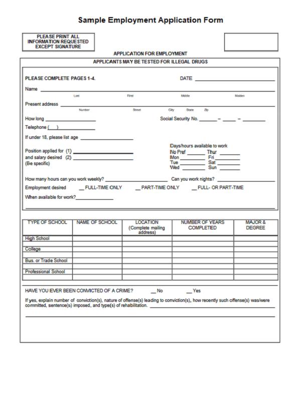 Job Application Form Download