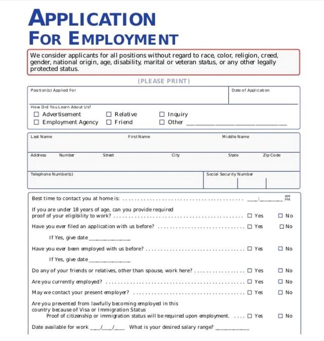 Employment-Application-Pdf Job Application Form Pdf on printable basic, dollar tree, letter format sample, print out, panera bread, dunkin donuts, pizza hut,