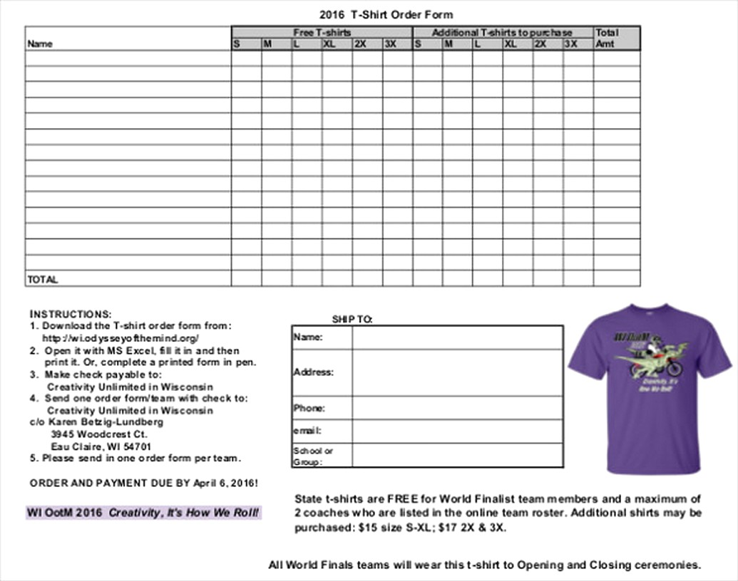 How To Make T Shirt Order Form In Microsoft Word