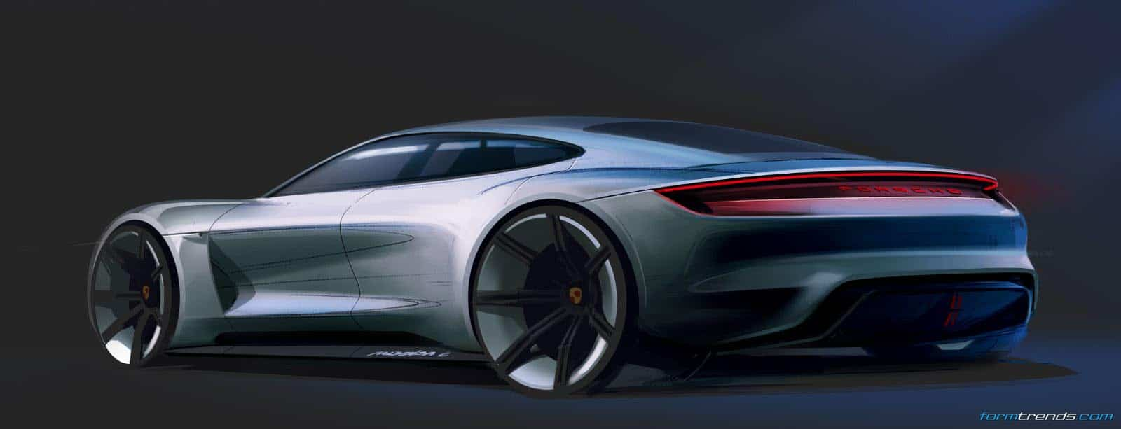 Car Design Sketch & Drawing Porsche Mission E concept