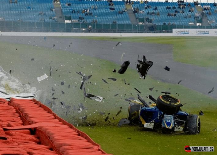 Accidente de Ericsson. Libres-3. GP Gran Bretaña 2016
