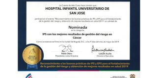Reconocimiento Hospital Infantil Universitaria San Jose - Formula Medica
