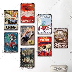 LE MANS Metal Sign Vintage Plaque Racing Car Tin Sign Wall Decor For Bar Pub Metal Crafts Retro MONACO Poster Custom