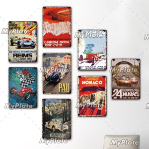 LE MANS Metal Sign Vintage Plaque Racing Car Tin Sign Wall Decor For Bar Pub Metal Crafts Retro MONACO Poster Custom