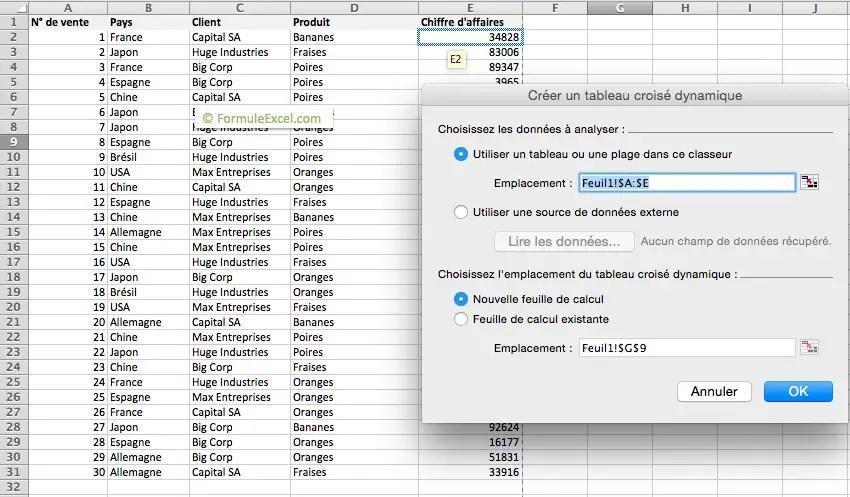 Tutoriel: le tableau croisé dynamique sur Excel - Formule Excel