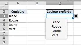 Menu déroulant avec Excel