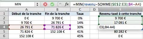 calcul du barême d'imposition d'une tranche intermédiaire