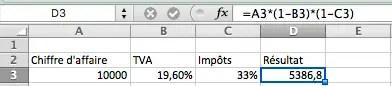 modele de calcul avec le gestionnaire de scénarios Excel