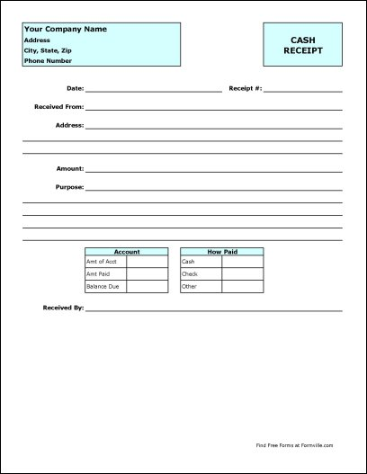 Payment Received Form Template pay receipt form payment receipt – Receipt for Payment Template Free