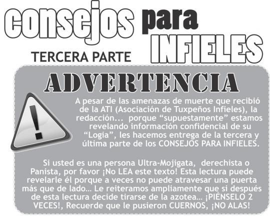 CONSEJOS PARA INFIELES (TERCERA PARTE)