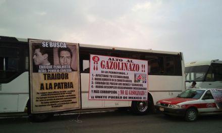 """Transportistas cumplen con  manifestarse,  dicen no al """"GASOLINAZO"""""""