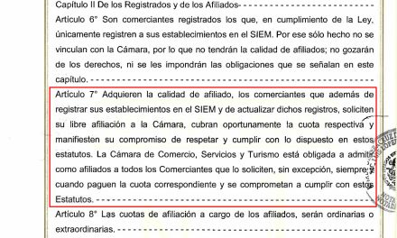 Estatutos de la Cámara de Comercio, Servicios y Turismo de Tuxpan, Veracruz