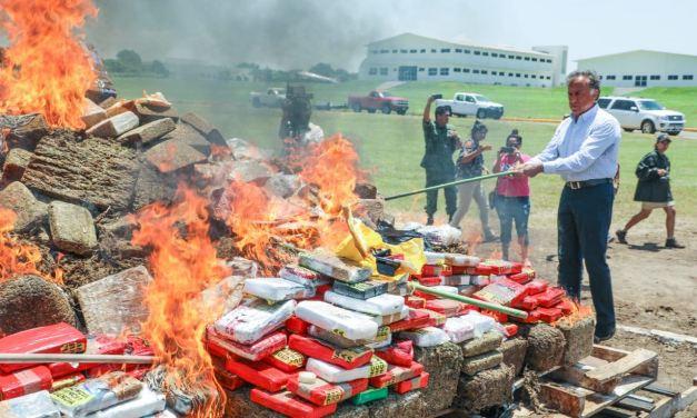 Grupo de Coordinación incinera droga asegurada en el Estado, en la Base Aeronaval de Las Bajadas